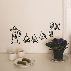 Cafe Wall Sticker, now featured on Fab. Happy Coffee, I Love Coffee, My Coffee, Coffee Cafe, Coffee Shop, Wall Stickers, Wall Decals, Mural Wall, Wall Art