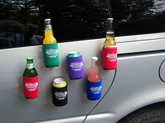 Magnetic coozies keep your hands free and your drinks cool during parking lot tailgates.