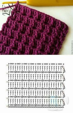 Crochet Stitches with patterns! Don't miss them - Puntos en Crochet con patrones! ¡No te los pierdas – Carola Crochet Stitches with patterns! Guêtres Au Crochet, Crochet Scarf Diagram, Crochet Motifs, Crochet Stitches Patterns, Crochet Chart, Knitting Stitches, Knitting Patterns Free, Crochet Baby, Free Crochet