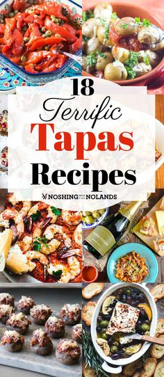 18 Terrific Tapas Recipes by Noshing With The Nolands will help your tapas night be a huge success! #tapas #recipes Tapas Dinner, Tapas Party, Tapas Food, Appetizer Recipes, Dinner Recipes, Shrimp Appetizers, Cheese Recipes, Shrimp Recipes, Spanish Tapas