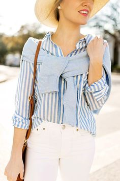 Classic Style | Spring | Blue and white stripe shirt, blue jumper tied around the shoulders, white jeans