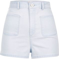 River Island Light wash patch pocket denim shorts ($56) ❤ liked on Polyvore featuring shorts, denim shorts, women, tall shorts, high-waisted denim shorts, river island and short jean shorts