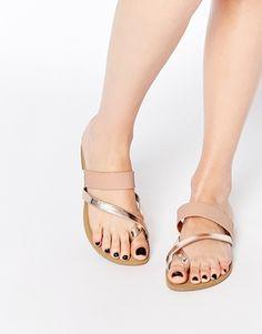 New Look Wide Fit Metallic Strap Sandal