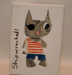 Shipwrecked  Pirate Kitty in Arylics 3x4 mini by kitncatherine, $4.00