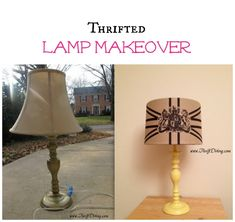 Trendy Home Diy Lamp Thrift Stores Furniture Makeover, Diy Furniture, Furniture Logo, Floor Lamp Makeover, Burlap Lampshade, Lampshades, Cover Lampshade, Old Lamp Shades, Painting Lamps