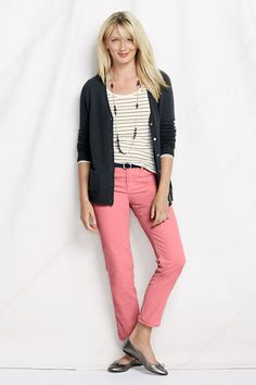 Play with colorful jeans, a comfy cardigan and your favorite necklace.