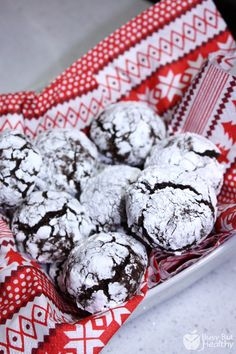 """Healthy Chocolate Crinkle Cookies - gluten free, low sugar, whole grain I don't know what's more exciting, clean Crinkle cookies or the fabulous """"Ugly Christmas Sweater"""" napkins! Healthy Christmas Cookies, Holiday Cookies, Christmas Desserts, Holiday Treats, Christmas Treats, Christmas Goodies, Holiday Recipes, Christmas Decor, Merry Christmas"""