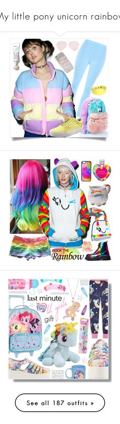 """My little pony unicorn rainbow"" by yours-styling-best-friend ❤ liked on Polyvore featuring Pink, unicorns, rainbow, pony, WithChic, Lazy Oaf, Vans, Natalia Brilli, Vera Wang and Iron Fist"