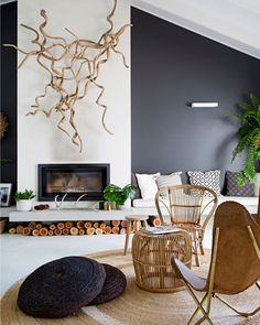 Fireplace Feature Wall, Feature Wall Living Room, Accent Walls In Living Room, Feature Walls, Timber Feature Wall, High Ceiling Living Room Modern, Black Feature Wall, Feature Wall Design, Home Design Living Room