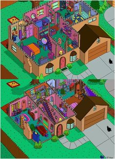 The Simpsons' House Layout: here we can see the whole of The Simpson's house, upstairs and downstairs. It looks nice and bright and if you were walking down the street you would notice it as The Simpson's house. It's pretty much accurate! The Simpsons, Simpsons Funny, Simpsons Quotes, Simpsons Characters, Sims 4 House Plans, Sims 4 House Design, Sims Building, Casas The Sims 4, Cartoons