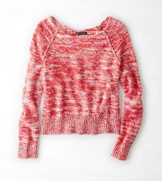 AEO Marled Cropped Sweater. Love the shades of pink/red together