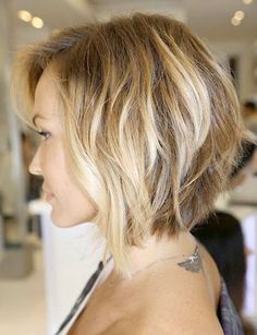 Stacked inverted bob for round faced gals