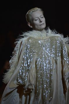 """The Impossible Wardrobe"". Actress Tilda Swinton and artist/ Director of the Musée Galliera Olivier Saillard put on a show. To say the least."