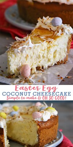 Easter Egg Coconut Cheesecake is a simple & delicious Easter dessert recipe. Easy cheesecake topped with toasted coconut & chocolate Easter eggs! YUM! via @KleinworthCo