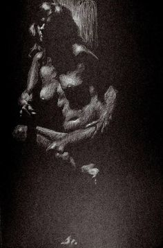 Figure Drawing Professor: White prismacolor on black canson mi-teintes paper