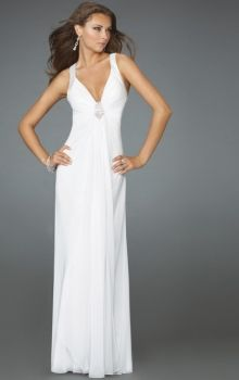Cheap cute white formal dresses for graduation & juniors & women onsale at Dressmini.com