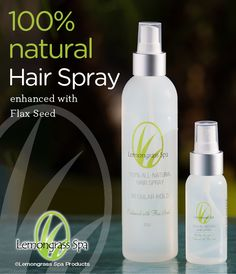 100% all-natural Hair Spray with flax seed, plant and herbal extracts and Panthenol (Vitamin B-5) adds softness, shine and hydration to hair. Can be applied to wet hair and used as a styling aid. Great for any climate.