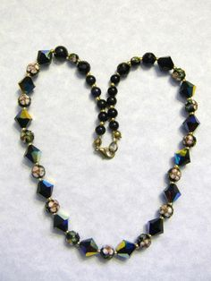 Black Crystal Cloisonné And Onyx Bead Necklace