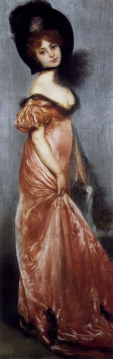 Young Girl in a Pink Dress by Pierre Carrier-Belleuse (1851 - 1932)