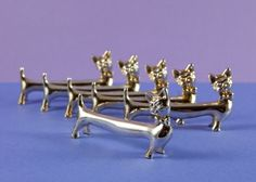 French Vintage Silver Plated Cat Knife Rests by BillsBitsAndBobs