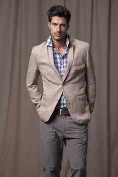 gray pants with a khaki sports coat