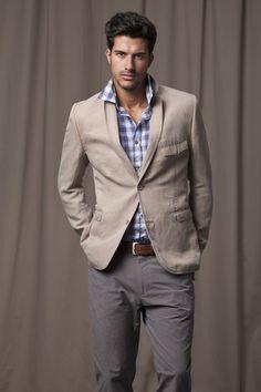gray pants with a khaki sports coat