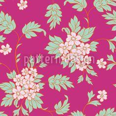 BouquetPink by Viktoryia Yakubouskaya available for download on patterndesigns.com Vector Pattern, Pattern Design, Floral Artwork, Pink Blossom, Repeating Patterns, Vector File, Vector Design, Surface Design, Dark Blue