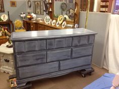 Gray dresser redo using charcoal chalk paint and liming wax
