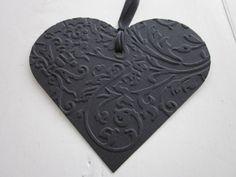 Heart gift tags  Leuke hart cadeaulabels dubbellaags van geembost cardstock en dik papier set van 4 grote labels in zwart met grijs---Wensboom of cadeau