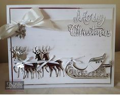 A5 tent card made using Sara Signature Contemporary Christmas Collection - Seasonal Sentiment - Luxury Card and Ribbon - Charm. Designed by Claire Murphy #crafterscompanion