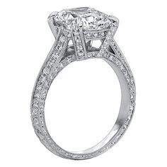 Vintage Style Cushion Diamond Cathedral Knife Edge Engagement Ring 1.82 tcw. In 14K White Gold