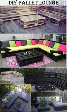 DIY Pallet Lounge | http://www.diyncraftz.com/diy-pallet-lounge/ Looking for a new lounging area with some huge couches? Why not just build them yourself with this really great DIY Pallet Lounge tutorial and directions. You can basically just setup the frame with pallets the rest you can use your imagination and utilize any cushions and pillows you like. Enjoy!