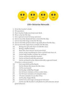 100+ Behavior Reward Ideas - Classroom Freebies
