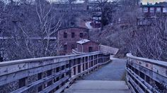 The trails in Old Mill Park in Historic Roswell GA