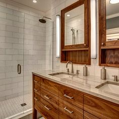 Love the white subway tile in this stunning European shower! Very unique wood vanity mirrors.  www.franksglass.com