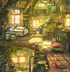 Image in Amazing Art collection by Wendy on We Heart It Imagen de Wendy Fantasy Art Landscapes, Fantasy Landscape, Landscape Art, Fantasy Concept Art, Fantasy Artwork, Fantasy House, Fantasy World, Pretty Art, Cute Art