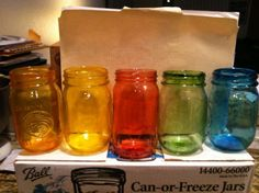 Was skeptical when they were baking but they turned out alright. Def making them again-- DIY Colored Mason Jars