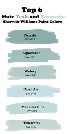 Top 6 Mute Teal and Turquoise Paint Colors. paint colors sherwin williams Top 6 mute teal and turquoise colors. Turquoise Paint Colors, Turquoise Painting, Paint Colours, Turquoise Door, Teal Wall Colors, Light Blue Paint Colors, Calming Paint Colors, Beach House Colors, Turquoise Home Decor