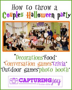 How to throw a Couples Halloween Party.  So sad I can't have my annual Halloween party this year :(  Hopefully I'll make some new friends in Texas so the tradition can be revived next year.