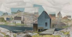"""Morning on the Inlet,"" Alfred Joseph (A.) Casson, ca. oil on board, 24 x private collection. Canadian Painters, Canadian Artists, William Kurelek, Sybil Andrews, Christopher Pratt, Mary Pratt, Hard Edge Painting, Alex Colville, Group Of Seven"
