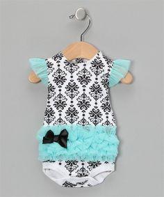 Vitamins Baby Turquoise Damask Tutu Bodysuit | Vitamins Baby Clothes