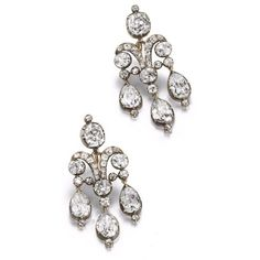 A pair of early century girandole earrings. Each collet-set cushion-shaped diamond surmount suspending a scrolling old brilliant-cut diamond plaque, terminating in three pear-shaped diamond drops, mounted in silver and gold, cased by Bulgari Roma. Antique Earrings, Antique Jewelry, Vintage Jewelry, Diamond Studs, Diamond Jewelry, Diamond Earrings, Gemstone Earrings, Titanic Jewelry, Best Friend Jewelry