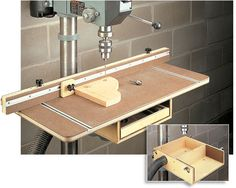 Drill Press Table - Homemade drill press table constructed from plywood and hardboard. Also doubles as a drum sanding station. Woodworking Drill Press, Woodworking Workshop, Woodworking Jigs, Woodworking Projects, Homemade Drill Press, Homemade Tools, Shop Storage, Shop Organization, Drill Press Table