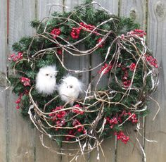 Winter Wreath - Adorable White Snowy White Owl Winter Wreath with Berries.