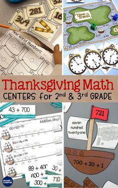 Thanksgiving Math Centers and Mayflower Math Craft Math Resources, Math Activities, Math Games, Math Stations, Math Centers, Plymouth Colony, Math Crafts, Expanded Form, Comparing Numbers