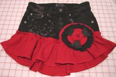 Embellished Black Red Ruffled Short Skirt Flower Applique Girls 10 Tween Waist 24 by GoodTasteArt on Etsy