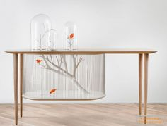 Bird Cage Built Into A Table. Such a cool concept. Bird Cage, A Table, My House, Modern Furniture, Entryway Tables, Contemporary, Interior Design, Cool Stuff, Home Decor