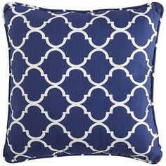 """A Moroccan windowpane design brings a sense of structure to the Geometric version of our 17"""" Cabana pillows. (Cobalt, Item # 2780583)"""