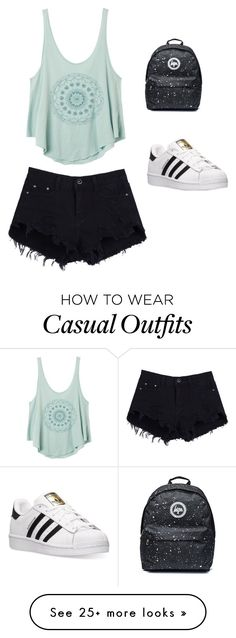 """""""Summer casual"""" by tianacontor on Polyvore featuring RVCA and adidas"""