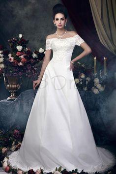 Fabulous A-line Floor-length Bateau Short-Sleeves Taline's Wedding Dress